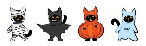 Gatos em trajes de Dia das Bruxas ilustração royalty free