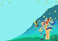 Gatos em uma árvore dourada na noite, ilustração ilustração royalty free
