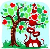 Gatos en amor stock de ilustración