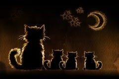 Gatos en noche ilustración del vector