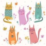 Gatos en sistema del vector de los vidrios Fotografía de archivo libre de regalías