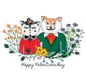 Gatos Enamoured Fundo do cumprimento no dia do ` s do Valentim Festa do amor feriado Beira floral cor-de-rosa Esboço dos animais Imagem de Stock Royalty Free