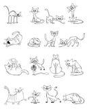 Gatos engraçados ajustados ilustração royalty free