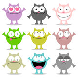 Gatos engraçados com várias emoções Imagem de Stock Royalty Free
