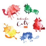 Gatos engraçados da aquarela Fotos de Stock