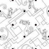Gatos engraçados A lápis desenho contínuo Teste padrão sem emenda cópia Fundo branco dos às bolinhas labirinto Vetor ilustração royalty free