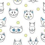 Gatos engraçados Textura sem emenda Vetor Imagens de Stock