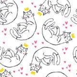 Gatos engraçados tirados mão com corações no estilo do esboço ilustração royalty free