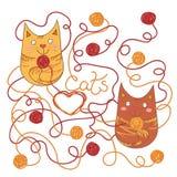 Gatos felizes ilustração royalty free