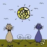Gatos felizes no Sun verde Imagens de Stock Royalty Free