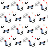 Gatos franceses do estilo que dizem o teste padrão sem emenda do bonjour Ilustração parisiense do vetor da vaquinha dos desenhos  Foto de Stock