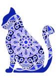 Gatos gráficos divertidos del vector con el ornamento floral stock de ilustración