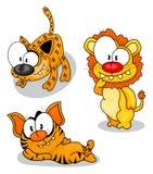 Gatos grandes dos desenhos animados Fotos de Stock
