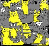 Gatos grises y amarillos en negro Fotos de archivo libres de regalías
