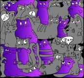 Gatos grises y púrpuras en negro Foto de archivo libre de regalías