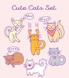 Gatos lindos de la historieta fijados Imagenes de archivo