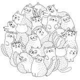 Gatos lindos del garabato que colorean la página ilustración del vector