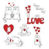 Gatos lindos en amor Conjunto del día de tarjetas del día de San Valentín Fotografía de archivo