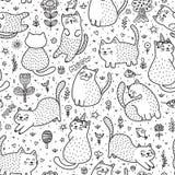 Gatos lindos en el modelo inconsútil del verano stock de ilustración