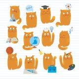 Gatos lindos que estudian temas de escuela ilustración del vector