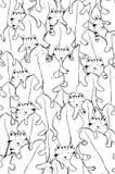 Gatos lindos que ocultan detrás de las hojas de palma Art Design para el libro de colorear para el adulto o los niños, colorante  Imagen de archivo libre de regalías