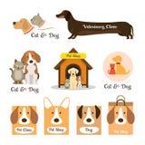 Gatos & logotipo e símbolo dos cães ilustração stock