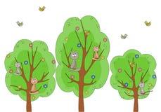 Gatos na árvore Fotos de Stock
