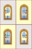 Gatos na textura das janelas Imagem de Stock