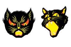 Gatos negros enojados Fotos de archivo