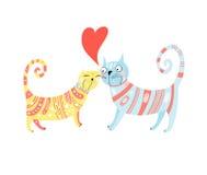 Gatos no amor Fotografia de Stock