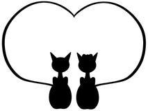Gatos no amor Fotos de Stock Royalty Free