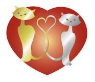 Gatos no amor com coração Ilustração do vetor EPS10 Fotos de Stock