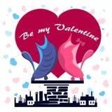 Gatos no amor em um telhado contra corações Imagem de Stock