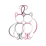 Gatos no amor que senta-se junto Imagem de Stock Royalty Free