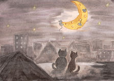 Gatos no telhado Tiragem pela aquarela Ilustração da criança Foto de Stock