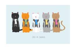 Gatos nos lenços ilustração stock