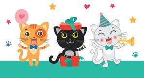 Gatos pequenos bonitos do preto, os brancos e os vermelhos Felicita o cartão ilustração royalty free