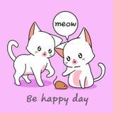 2 gatos preciosos están jugando con un ratonil stock de ilustración
