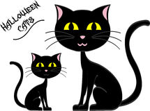 Gatos pretos de Dia das Bruxas ilustração do vetor