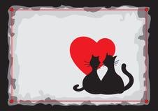 Gatos pretos dos amantes Silhueta ilustração royalty free