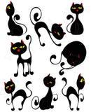 Gatos pretos (vetor) Foto de Stock Royalty Free