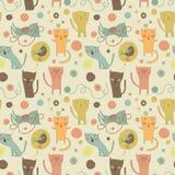 Gatos, pássaro e brinquedos dos desenhos animados em um fundo brilhante Imagens de Stock Royalty Free