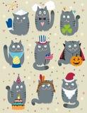 Gatos que celebran días de fiesta ilustración del vector