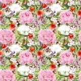 Gatos que mienten en hierba, flores Modelo inconsútil floral watercolor ilustración del vector
