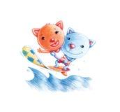 Gatos que practican surf Fotos de archivo