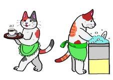 Gatos que sirven el café, platos que se lavan. Imagen de archivo libre de regalías