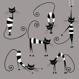 Gatos rayados divertidos, colección para su diseño Imágenes de archivo libres de regalías