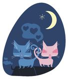 Gatos românticos Foto de Stock Royalty Free