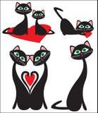 Gatos y corazón Foto de archivo libre de regalías