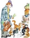 Gatos y hombre divertido ilustración del vector
